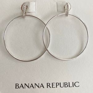 NWT Banana R Silver hoops with pave crystals